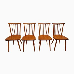 Dutch Wooden Spindle Back Dining Chairs, 1960s, Set of 4