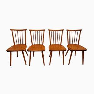 Niederländische Esszimmerstühle mit Holzspeichen, 1960er, 4er Set