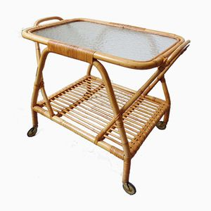 Chariot de Service Vintage en Bambou