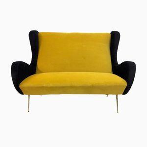 Italienisches Sofa in Senfgelb & Schwarz, 1950er