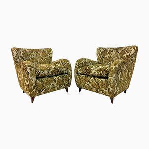 Mid-Century Italian Green Floral Armchairs, Set of 2