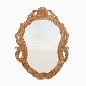 Vintage Patinated Stucco Wall Mirror, 1940s