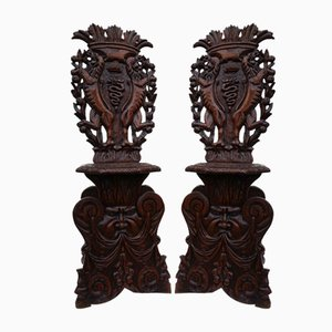 Antique Italian Carved Oak Sgabello Chairs, Set of 2