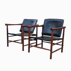 Vintage Safari Chairs by Kaj Lyngfeldt Larsen for Søborg Møbelfabrik, Set of 2