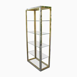 Brass and Chrome Shelving Unit by Renato Zevi for Romeo Rega, 1970s