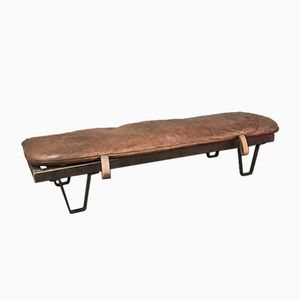 Vintage Wooden Bench with Leather Cushion