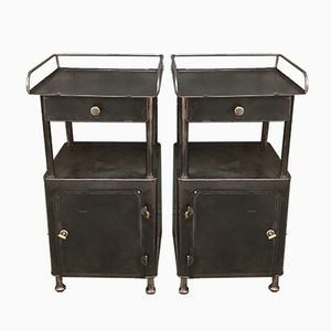 Vintage Black Metal Night Stands, Set of 2