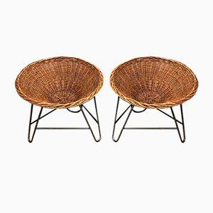 Vintage Sessel aus Korbgeflecht, 2er Set