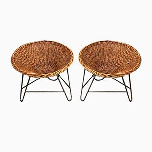 Vintage Wicker Basket Armchairs, Set of 2