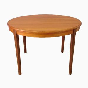 Round Scandinavian Teak Table with Extensions, 1960s