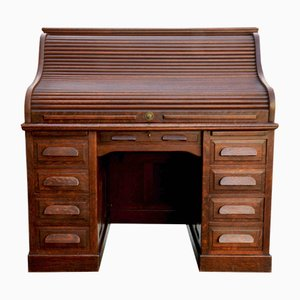 American Tambour Desk in Oak, 1940s