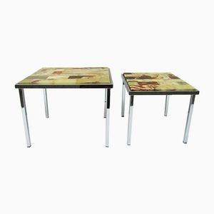 Chrome & Onyx Side Tables from Marindo Blad, 1950s, Set of 2