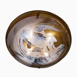 Large German Murano Art Glass & Brass Flush Light from Hillebrand, 1970s