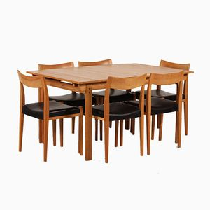 Swedish Kontiki Ash Dining Room Set by Yngve Ekström for Troeds, 1980s