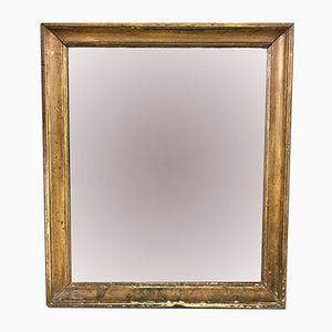 Kleiner Antiker Französischer Spiegel mit Vergoldetem Holzrahmen