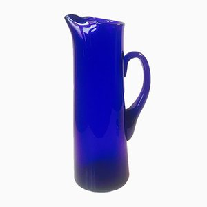 Large Swedish Cobalt Blue Martini Glass Pitcher by Gunnar Ander for Lindshammar, 1950s