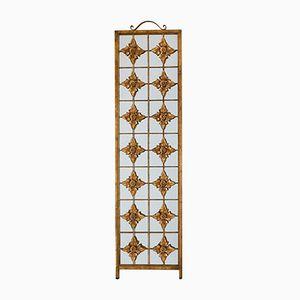 Wandspiegel mit Gitter & Blätter Dekor, 1930er
