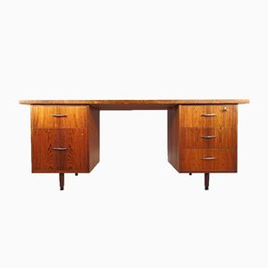 Mid-Century Rosewood Desk with Five Drawers