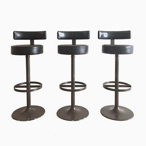 Steel & Leather Modernist Bar Stools, 1965, Set of 3
