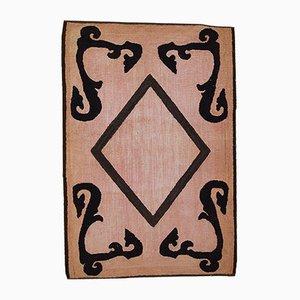 American Handmade Pink & Black Hooked Rug, 1920s