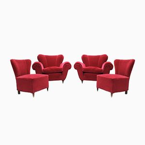 Fauteuils en Velours Rouge, 1950s, Set de 4