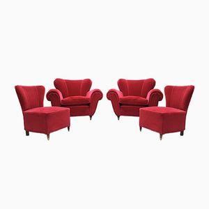 Rote Samtsessel, 1950er, 4er Set