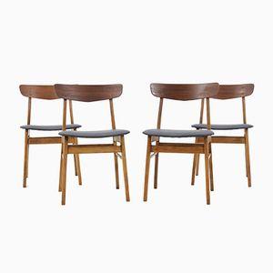 Chaises de Salle à Manger en Hêtre & Teck, Danemark, 1960s, Set de 4