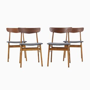 Danish Beech & Teak Dining Chairs, 1960s, Set of 4