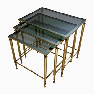 French Brass Nesting Tables with Teal Mirror Trimmed Tops, 1950s