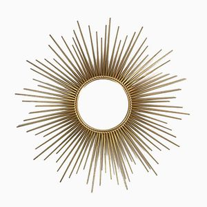 Mid-Century Golden Sun Shaped Mirror from Chaty Vallauris