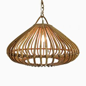 French Bamboo Hanging Lamp, 1960s
