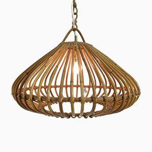 Lampe à Suspension en Bambou, France, 1960s