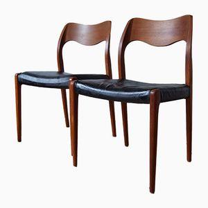 Teak Esszimmerstühle von Niels O. Møller für J.L. Møllers, 1960er, 2er Set