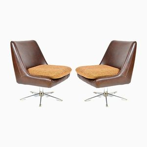 Vintage Artificial Leather Armchairs, Set of 2