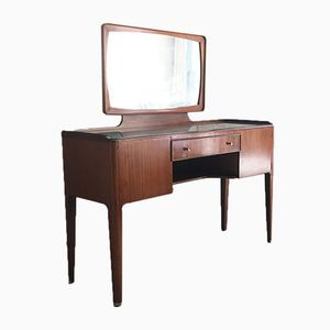 French Glass Topped Rosewood Dressing Table with Brass Detailing, 1960s