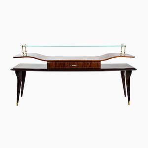 Italian Rosewood & Glass Console Table, 1950s