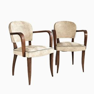Belgian White Vinyl Chairs with Sculpted Oak Frames, 1960s, Set of 2