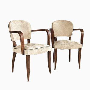 Belgische Weiße Vinyl Stühle mit Skulpturalen Eichenholz Gestellen, 1960er, 2er Set