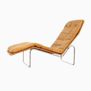 Scandinavian Leather Lounge Chair with Chrome Base, 1960s