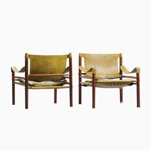 Vintage Sirocco Safari Armlehnstühle von Arne Norell für Aneby Mobler, 2er Set