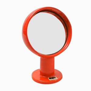 Mid-Century Red Ceramic Round Mirror from Franco Pozzi, 1970s