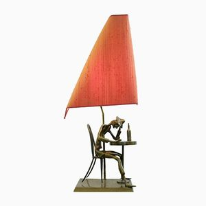 Vintage Brass Table Lamp with Reading Figure, 1970s