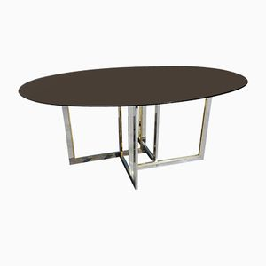 Mid-Century Brass, Chrome, and Glass Dining Table by Willy Rizzo, 1979
