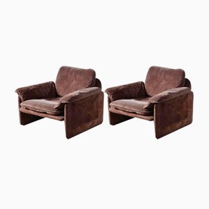 Braune Wildleder Sessel von Cassina, 1970er, 2er Set