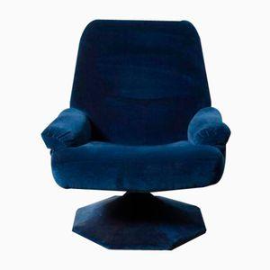 Blue Velvet Swivel Lounge Chair, 1960s