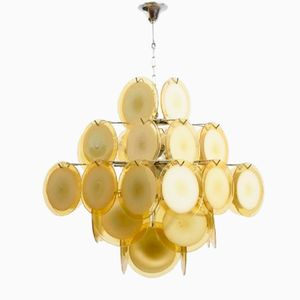 Mid-Century Amber Five-Tiered Murano Glass Disc Chandelier by Vistosi, 1960s