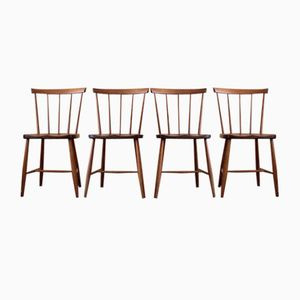 Vintage Wooden Dining Chairs, Set of 4