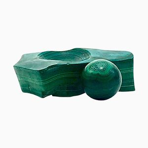 Mid-Century Malachite Bowl with a Polished Ball, 1950s