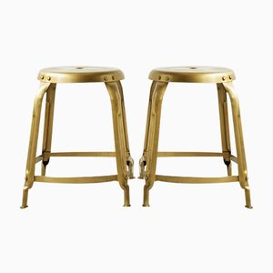 Contemporary Industrial Gold Stools from House Doctor, Set of 2
