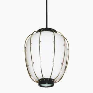 Mid-Century Italian Brass and White Glass Ceiling Lamp from Stilnovo, 1960s